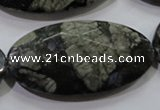 COP488 15.5 inches 25*50mm faceted oval natural grey opal beads