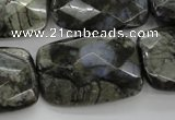 COP491 15.5 inches 20*30mm faceted rectangle natural grey opal beads