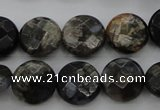 COP495 15.5 inches 10mm faceted coin natural grey opal beads