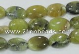 COP562 15.5 inches 10*14mm oval natural yellow & green opal beads