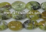 COP563 15.5 inches 13*18mm oval natural yellow & green opal beads