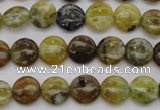COP567 15.5 inches 10mm flat round natural yellow & green opal beads