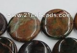 COP607 15.5 inches 25mm flat round green opal gemstone beads