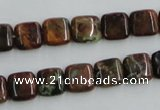 COP612 15.5 inches 10*10mm square green opal gemstone beads