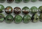 COP662 15.5 inches 8mm faceted round green opal gemstone beads