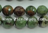 COP665 15.5 inches 14mm faceted round green opal gemstone beads