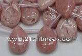 COP74 15.5 inches 13*18mm flat teardrop natural pink opal beads