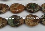 COP761 15.5 inches 15*20mm flat teardrop green opal gemstone beads