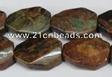 COP771 15.5 inches 18*25mm twisted octagonal green opal gemstone beads