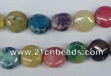 COP866 15.5 inche 10mm flat round dyed African opal gemstone beads