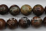 COP955 15.5 inches 14mm round green opal gemstone beads wholesale
