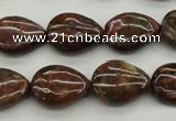 COP980 15.5 inches 13*18mm flat teardrop green opal gemstone beads