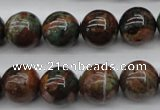 COP989 15.5 inches 14mm round green opal gemstone beads wholesale