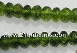 COQ101 15.5 inches 6*10mm faceted rondelle dyed olive quartz beads