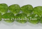 COQ111 15.5 inches 13*18mm faceted teardrop dyed olive quartz beads