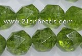 COQ119 15.5 inches 14mm faceted nuggets dyed olive quartz beads