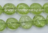 COQ25 16 inches 15mm flat round dyed olive quartz beads wholesale