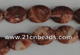 COV106 15.5 inches 12*16mm oval red mud jasper beads wholesale