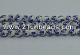 CPB511 15.5 inches 6mm round Painted porcelain beads