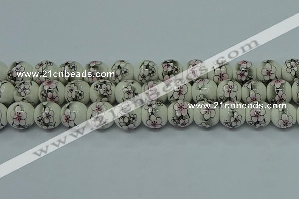 CPB603 15.5 inches 10mm round Painted porcelain beads