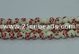 CPB614 15.5 inches 12mm round Painted porcelain beads
