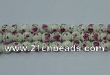 CPB631 15.5 inches 6mm round Painted porcelain beads