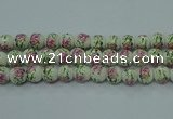 CPB681 15.5 inches 6mm round Painted porcelain beads