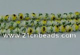 CPB734 15.5 inches 12mm round Painted porcelain beads