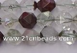 CPC17 15.5 inches 10mm faceted nuggets green phantom quartz beads
