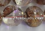 CPC656 15.5 inches 16mm round yellow phantom quartz beads