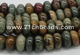 CPJ01 15.5 inches 5*10mm rondelle picasso jasper beads wholesale