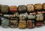 CPJ05 15.5 inches 10*10mm square picasso jasper beads wholesale