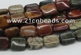 CPJ08 15.5 inches 8*10mm rectangle picasso jasper beads wholesale