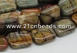 CPJ19 15.5 inches 10*14mm rectangle picasso jasper beads wholesale