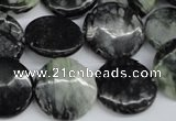 CPJ215 15.5 inches 18mm flat round green picasso jasper beads