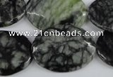 CPJ220 15.5 inches 22*30mm oval green picasso jasper beads