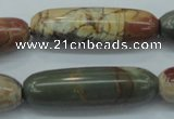 CPJ26 15.5 inches 13*40mm cylinder picasso jasper beads wholesale