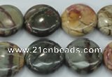 CPJ27 15.5 inches 20mm flat round picasso jasper beads wholesale