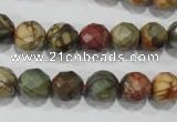 CPJ303 15.5 inches 10mm faceted round picasso jasper beads wholesale