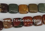 CPJ361 15.5 inches 12*12mm square picasso jasper gemstone beads