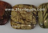 CPJ363 15.5 inches 30*30mm square picasso jasper gemstone beads