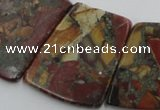 CPJ380 18*25mm - 26*32mm trapezoid picasso jasper & pyrite beads