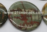 CPJ39 15.5 inches 55mm flat round picasso jasper beads wholesale