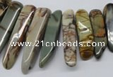 CPJ40 15.5 inches multi size wand picasso jasper beads wholesale