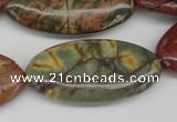 CPJ410 15 inches 20*40mm marquise picasso jasper gemstone beads