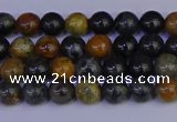 CPJ470 15.5 inches 4mm round black picasso jasper beads wholesale