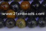 CPJ473 15.5 inches 10mm round black picasso jasper beads wholesale
