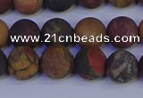 CPJ503 15.5 inches 10mm round matte picasso jasper beads wholesale