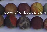 CPJ505 15.5 inches 14mm round matte picasso jasper beads wholesale