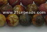 CPJ533 15.5 inches 10mm faceted round picasso jasper beads